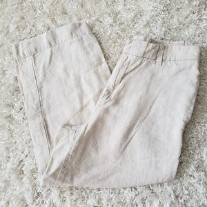 Gap light tan linen trouser capris